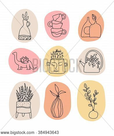 Handmade Clay Pottery Logos Collection. Handmade Ceramics Vector Graphic Elements. Decorative Labels