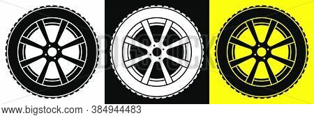 Wheel With Tire And Winter Rubber Tread. Winter Tires For Car. Driving On Slippery Road. Driving Saf