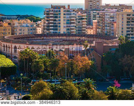 Malaga, Spain - December 13, 2017: Panoramic View Of Bullring In Malaga.