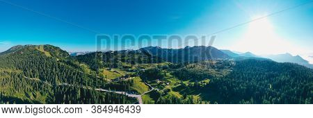 Tauplitz Alm In Styria During Summer. Panoramic Picture Of A Beautiful Scenery In The Austrian Alps.