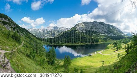 Tauplitz Alm. Panorama Of Lake Großsee In The Styria Region In The Austrian Alps During Summer.