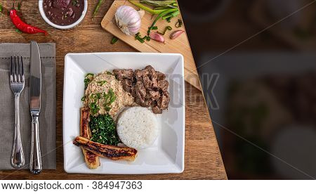 Minced Beef Tenderloin. Traditional Brazilian Food (picadinho). Selective Focus. Space For Text. Top
