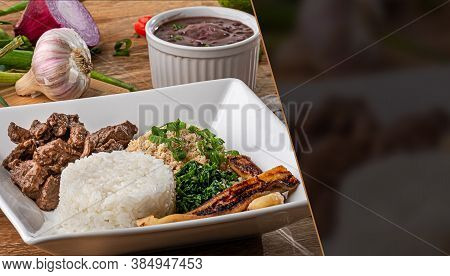Minced Beef Tenderloin. Traditional Brazilian Food (picadinho). Selective Focus. Space For Text