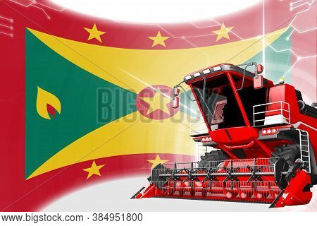 Digital Industrial 3d Illustration Of Red Advanced Grain Combine Harvester On Grenada Flag - Agricul