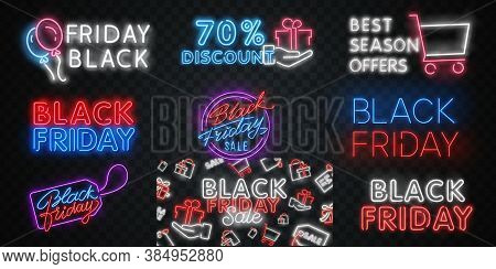 Black Friday Banner. Black Friday Neon Sign Isolated On Transparent Background. Shining And Glowing