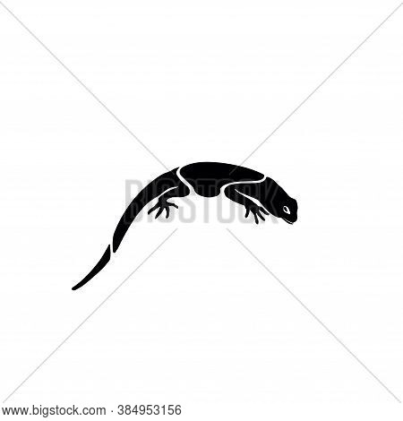 Lizard Logo. Silhouette Of A Lizard On A White Background