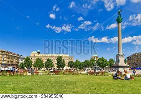 Stuttgart, Germany - July 2020: Public Park In Town Square Called 'schlossplatz' In Old City Center