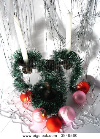 Candlestick And Green Garland