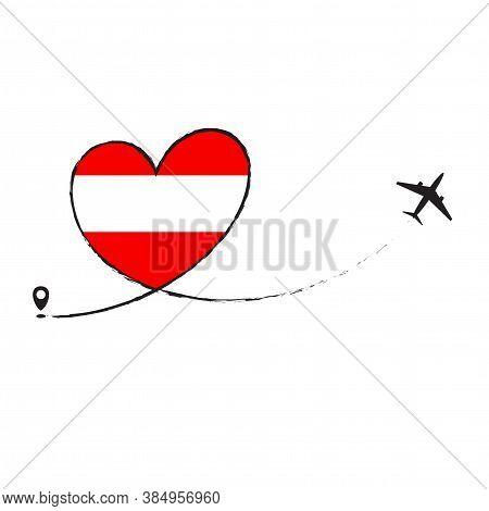 Flag Of Austria Love Romantic Travel Airplane Airplane Airplane Airplane Flight Fly Jet Airline Line