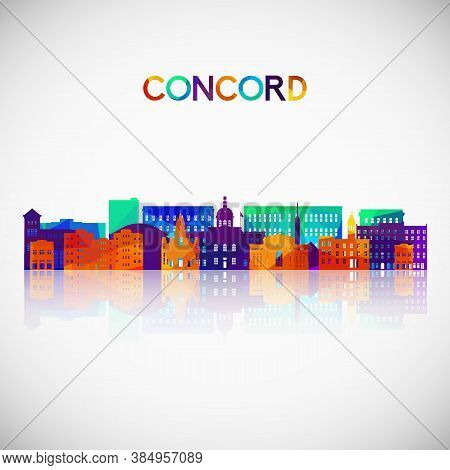 Concord, New Hampshire Skyline Silhouette In Colorful Geometric Style. Symbol For Your Design. Vecto
