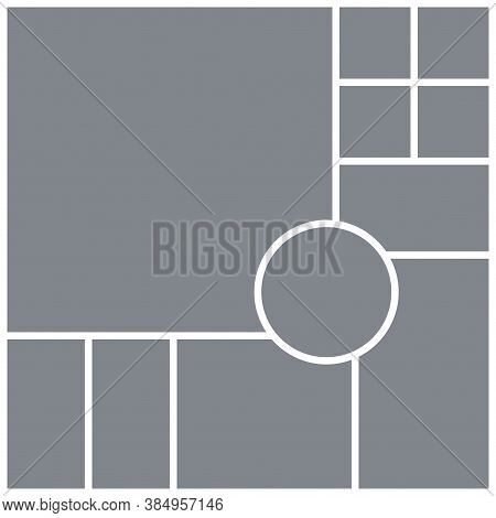 Photo Collage Grid. Mood Board Square Template With Circle. Vector. Moodboard Background. Picture Gr