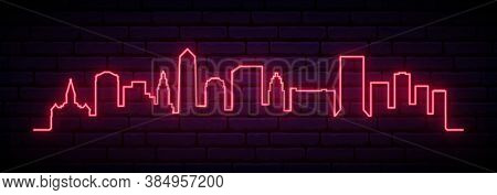 Red Neon Skyline Of Jacksonville. Bright Jacksonville City Long Banner. Vector Illustration.