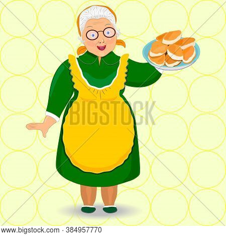 Flat Granny Style With Pies . Grandmother In Glasses, Apron. Baking, Pies. Food Preparation. Isolate