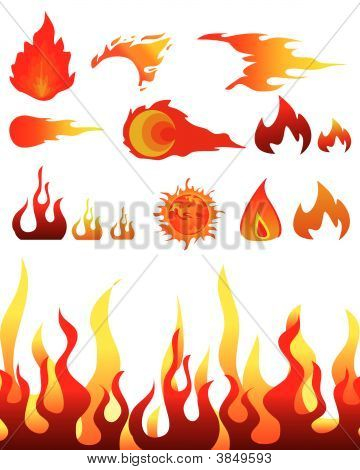 Red burning flame pattern. Vector illustration on white poster