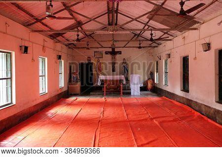 CHUNAKHALI, INDIA - FEBRUARY 26, 2020: Catholic church in Chunakhali, West Bengal, India