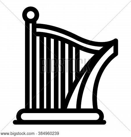 Lesson Harp Icon. Outline Lesson Harp Vector Icon For Web Design Isolated On White Background
