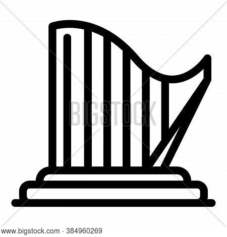 Ancient Harp Icon. Outline Ancient Harp Vector Icon For Web Design Isolated On White Background