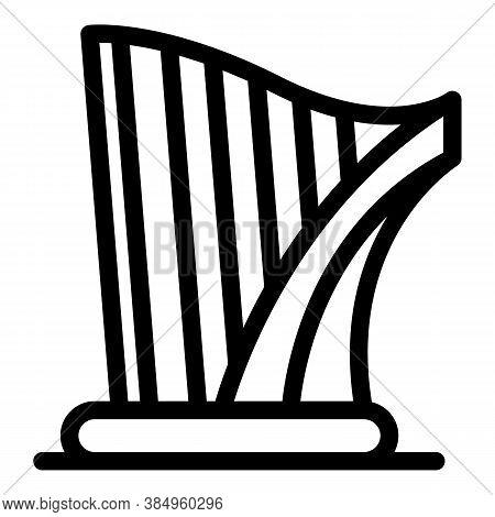 Festival Harp Icon. Outline Festival Harp Vector Icon For Web Design Isolated On White Background