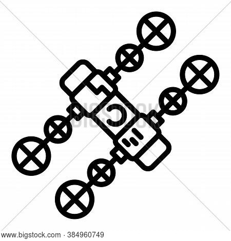Solar Space Station Icon. Outline Solar Space Station Vector Icon For Web Design Isolated On White B