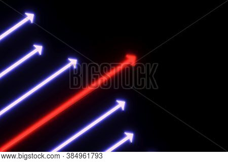 Arrow Business Success Leader Neon Concept Self Illumination Background 3d Illustration