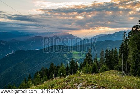 View Of Triglav National Park And Jesenice Town In Sunset Clouds - Julian Alps, Slovenia And View Fr
