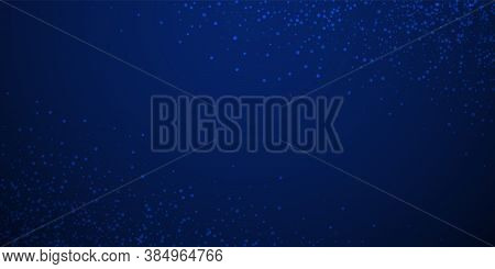 Magic Stars Sparse Christmas Background. Subtle Flying Snow Flakes And Stars On Dark Blue Night Back