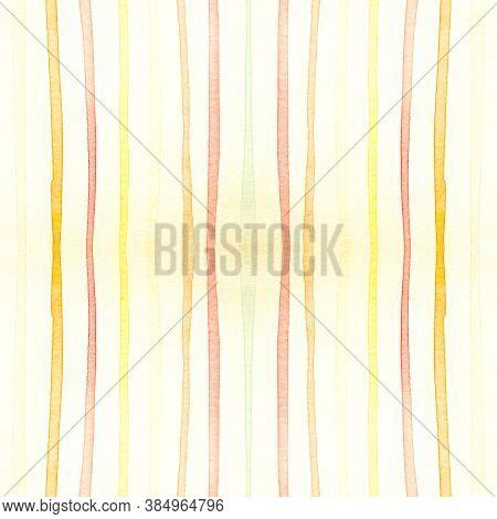 Yellow Stripes Ornament. Artistic Brushstroke Background. Summer Horizontal Texture. Watercolour Str