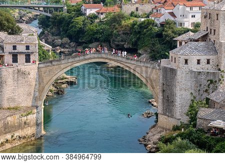 Mostar, Bosnia And Herzegovina - July 4th 2018: A Landscape View Of The Old Town Of Mostar, With The