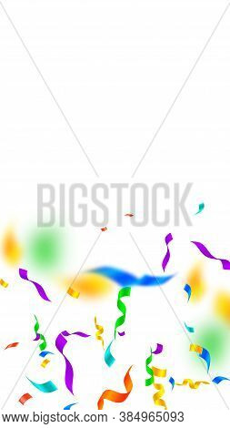Streamers And Confetti. Festive Streamers Tinsel And Foil Ribbons. Confetti Gradient On White Backgr