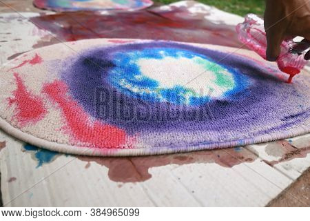 Carpet Handmade Colorful Dye , The Textile Sector Concept