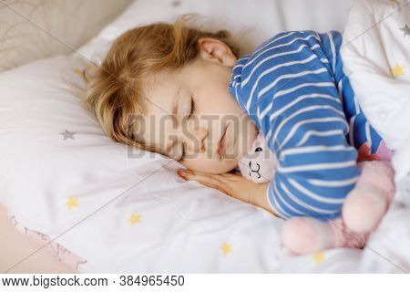Cute Little Toddler Girl Sleeping In Bed With Favourite Soft Plush Toy Lama. Adorable Baby Child Dre