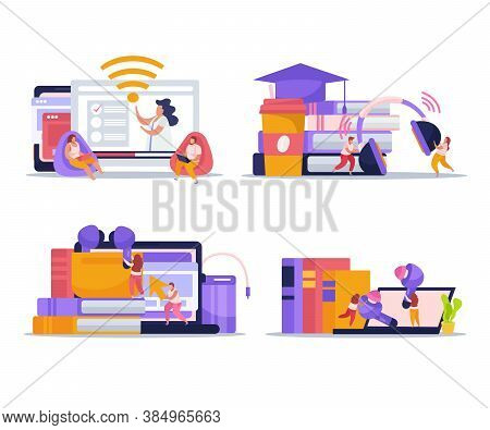 Wireless Devices Concept 4 Flat Compositions With Smartphone Tablet Laptop Ebooks Reader Earbuds Ear