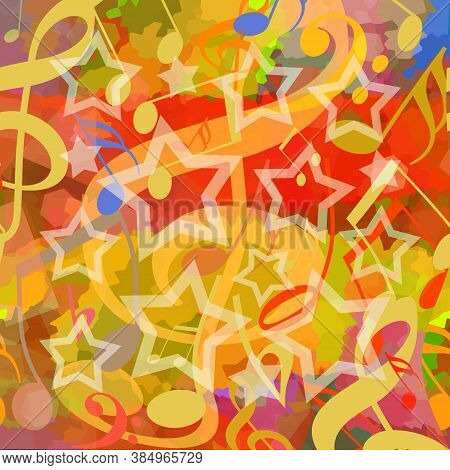 Dancing Musical Notes And Stars On A Bright Colorful Groovy Background