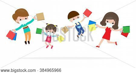 Black Friday Sale Event Happy Family Characters Cartoon With Shopping Bag, Advertising Poster Banner