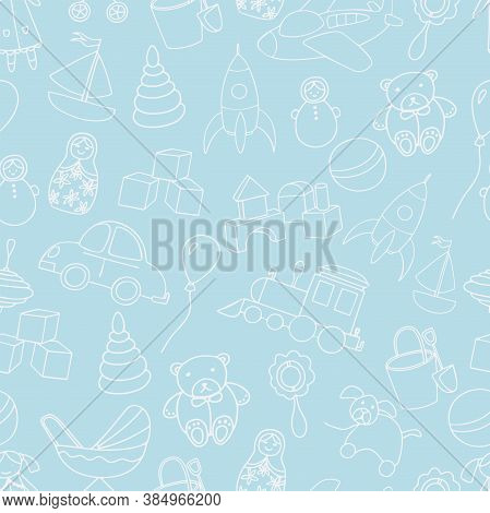 Cute Toys Seamless Pattern. Baby Boy Backdrop. Outline Elements Isolated On Blue Background. For Bac