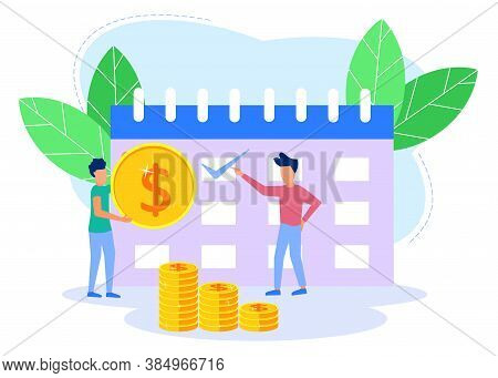 Illustration Of Business Concept Vector, Employee Payday. Employees Mark The Date On The Calendar. T