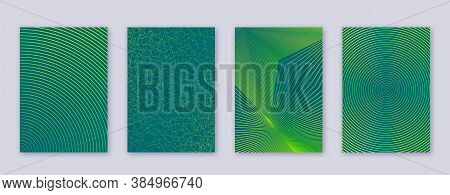 Art Business Card. Abstract Lines Modern Brochure Template. Green Vibrant Gradients Geometry On Dark