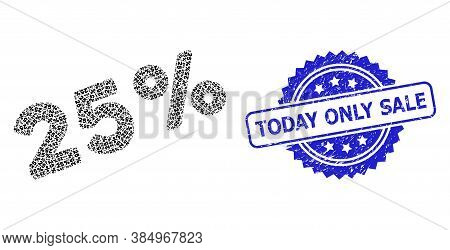 Today Only Sale Dirty Seal And Vector Recursive Composition 25 Percents. Blue Stamp Seal Includes To