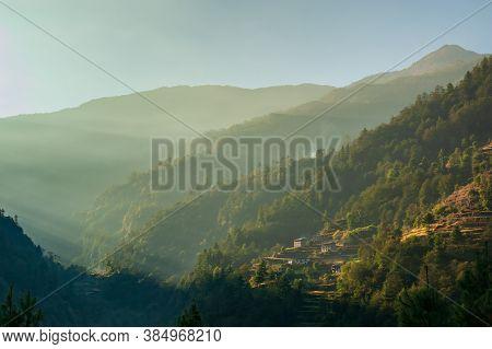 Ascending From Kinja Village. Trekking In Nepal Himalayas. Ebc (everest Base Camp Trek) Trail Betwee