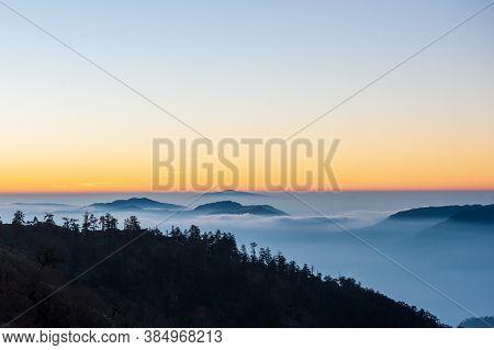 Sunset In Lamjura Pass. Trekking In Nepal Himalayas. Ebc (everest Base Camp Trek) Trail Lower Part F