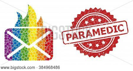 Hot Mail Collage Icon Of Round Items In Various Sizes And Spectrum Colored Color Hues, And Paramedic