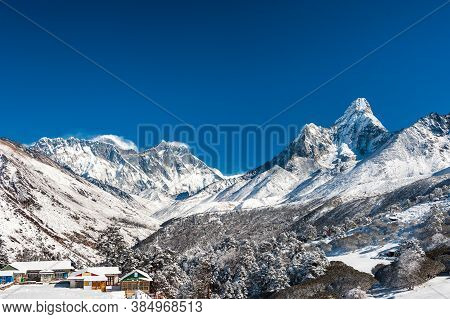 Ama Dablam And Mt. Everest Peaks Covered With Snow In Tengboche Pass. Trekking In Nepal Himalayas. E