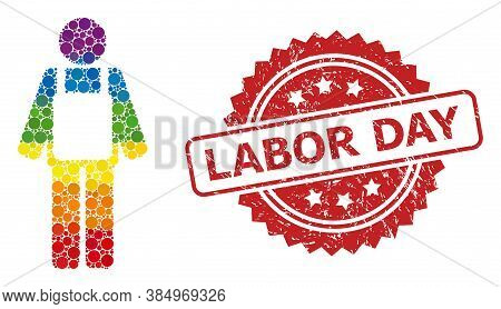 Worker Person Collage Icon Of Round Items In Variable Sizes And Lgbt Colored Color Tinges, And Labor