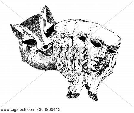 Trickster Vector. Fox With Masks In His Hands. Fashionable Tattoo. Liar, Dodger, Mischievous, Hoaxer