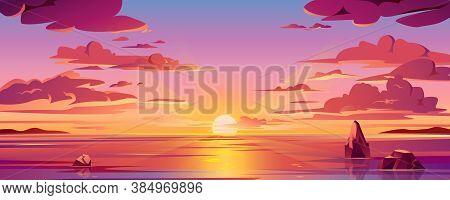 Panorama Of Sea Sunset Or Ocean Sunrise. Illustration Of Water And Sky Horizon, Sun Reflection. Dusk