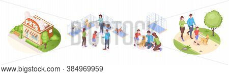 Pets Shelter And Animals Adoption, Family Takes Dog Home, Isometric Set. Happy Family With Kid Choos