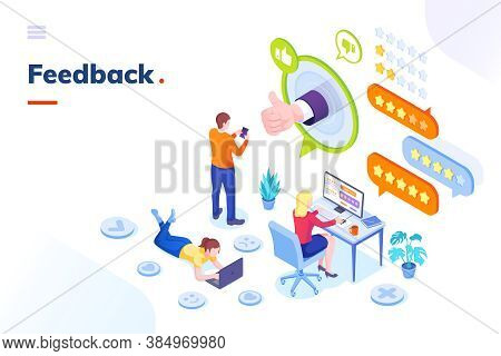 Feedback And Customer Survey, Review And Opinion, Isometric Concept. Customer Feedback Review Online