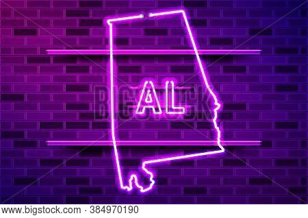 Alabama Us State Glowing Neon Lamp Sign. Realistic Vector Illustration. Purple Brick Wall, Violet Gl