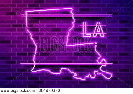 Louisiana Us State Glowing Neon Lamp Sign. Realistic Vector Illustration. Purple Brick Wall, Violet