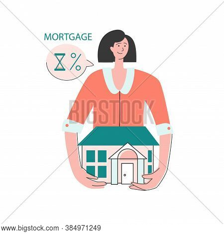 The Family Buys A House With A Mortgage. A Lonely Lady Chooses Her Home. House Loan, Rent And Mortga